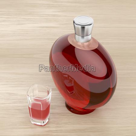 liqueur bottle and a glass