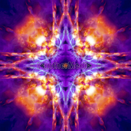 purple and orange kaleidoscope cross