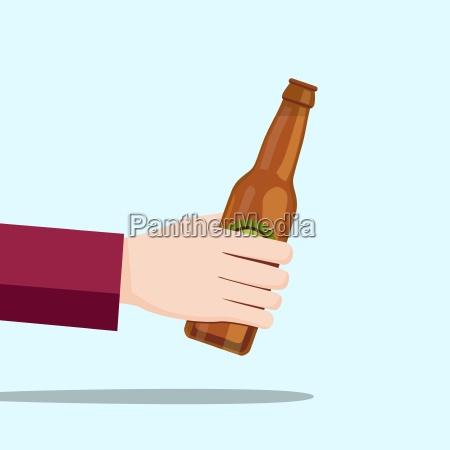 left hand holding a beer bottle