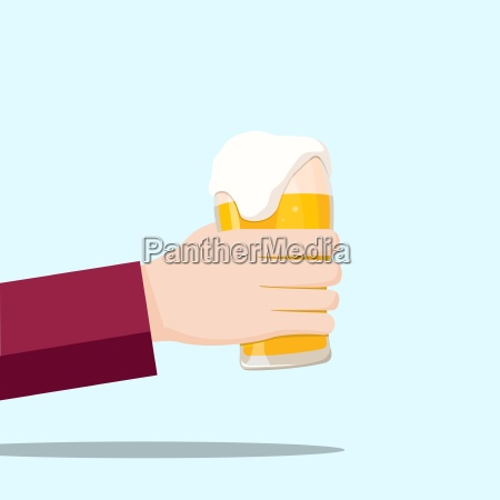 left hand holding a beer glass