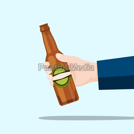 right hand holding a beer bottle