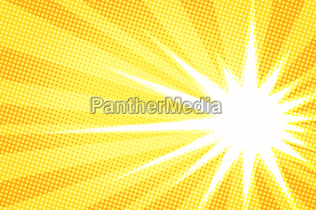 white sun yellow pop art background