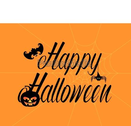 happy halloween text with spider pumpkin