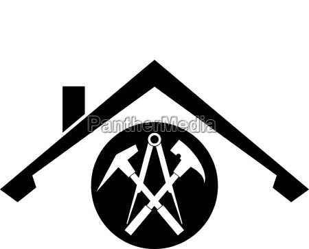 tools and roof roofer logo sticker