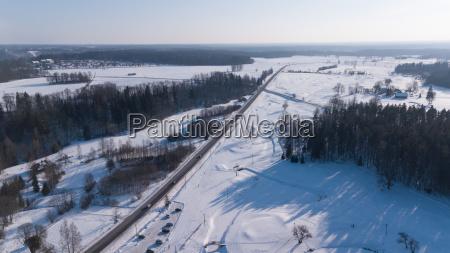 winter field krimulda latvia aerial drone