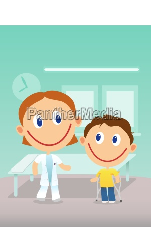 child with cruthes visit doctor in