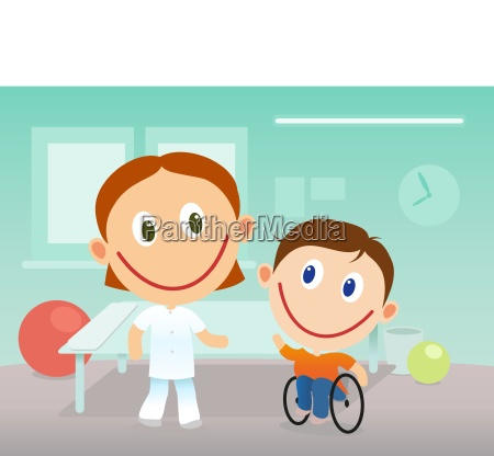 child in wheelchair in rehabilitation clinic