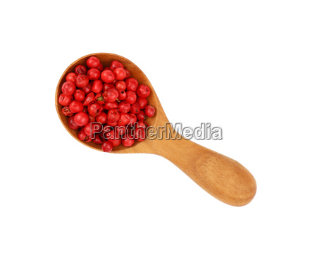 wooden scoop spoon full of pink