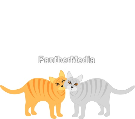 pair of cats snuggling illustration