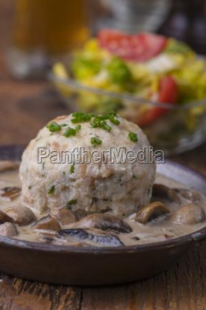 bavarian bread dumplings with mushroom sauce