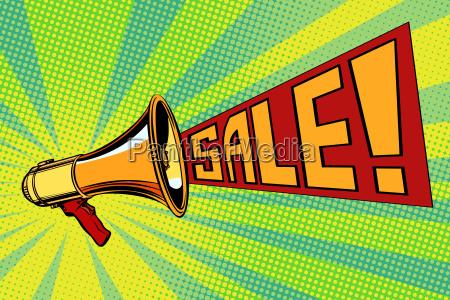 sale pop art megaphone background