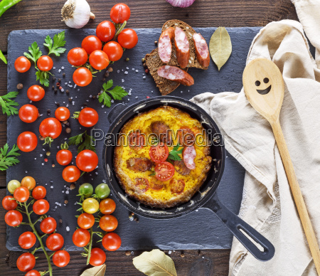 fried omelette from chicken eggs with