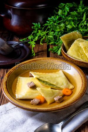 delicious swabian original maultaschen with traditional