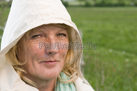 blonde mature woman with hood