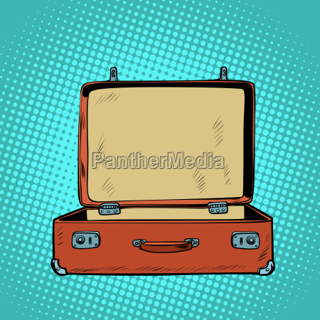 old open retro suitcase travel and