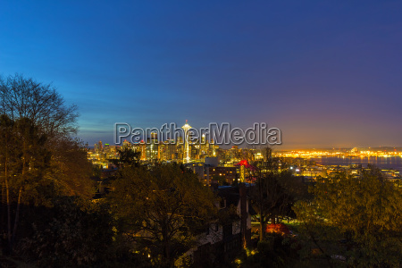 seattle skyline and puget sound blue