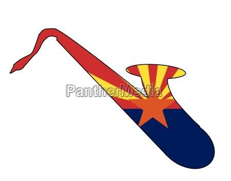 saxophone silhouette with arizona state flag