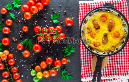 omelette with sausages and chicken eggs