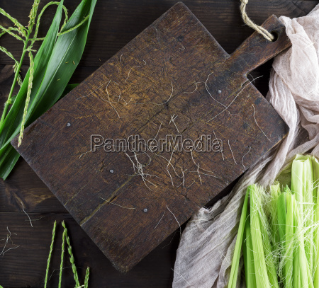 old empty brown wooden kitchen cutting