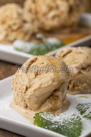 close up of walnut ice cream