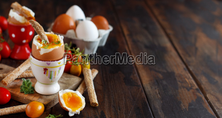 soft boiled egg with crisp bread