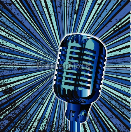 blue retro microphone