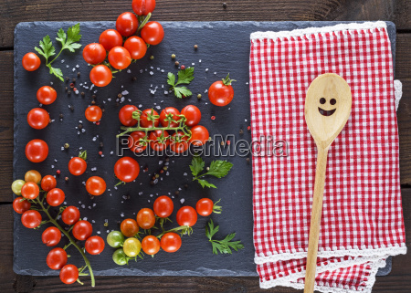 wooden spoon on a red textile
