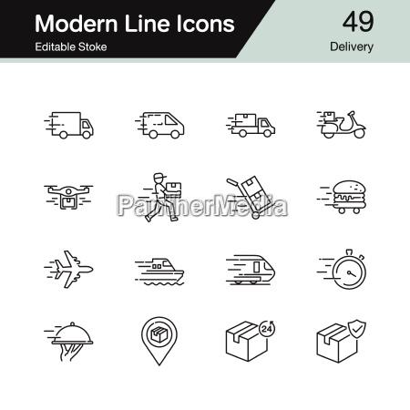 delivery icons modern line design set
