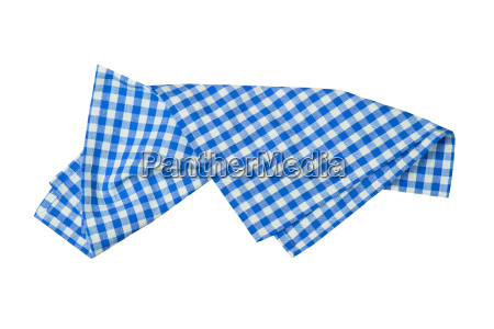 blue and white checkered napkin isolated
