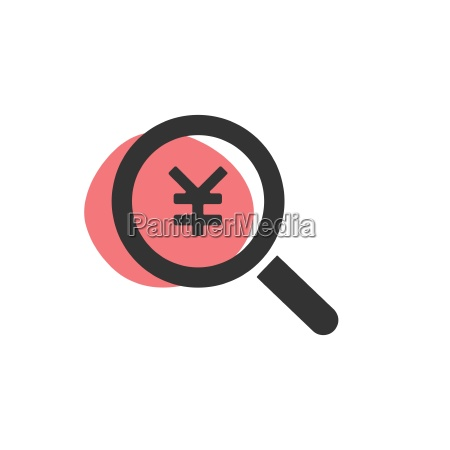 magnifying glass looking for yen isolated