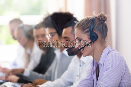 customer service executives working in call