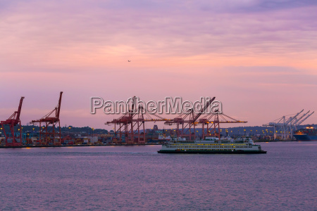 port of seattle during colorful sunset