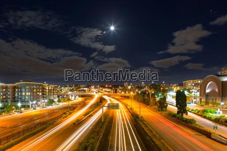 moon over freeway in tacoma washington