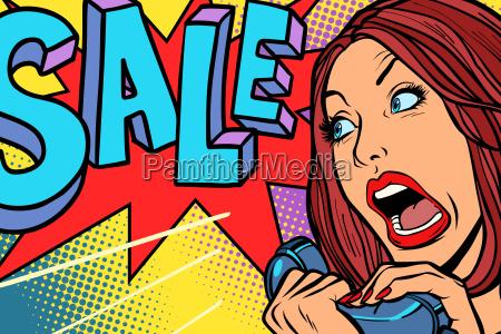 sale shopping season woman screams in