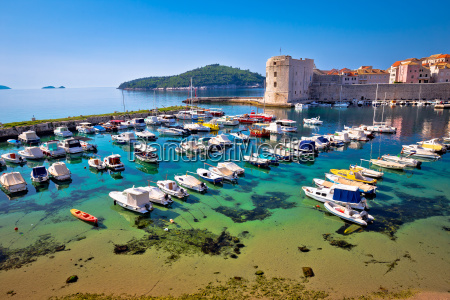 dubrovnik harbor and city walls view