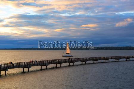 sailing on bellingham bay during sunset