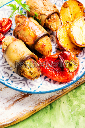turkish dish of eggplant parmak koft
