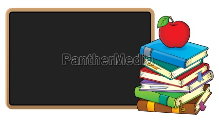stack of books and blackboard