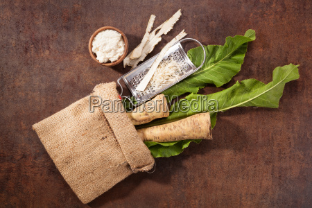 roots and grated horseradish in burlap