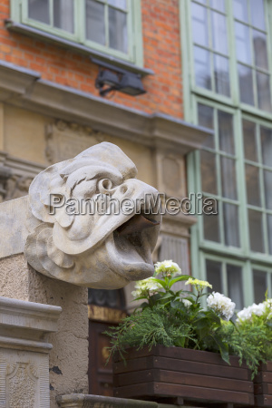 mariacka street grotesque gargoyle on front