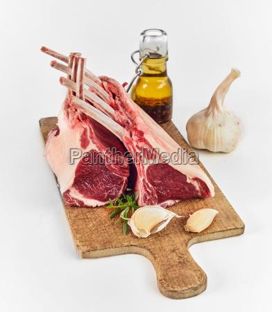 two racks of lamb chops being