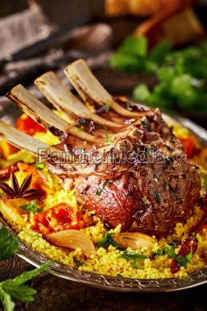 gourmet seasoned rack of lamb with