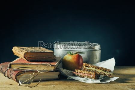 vintage school lunch still life with