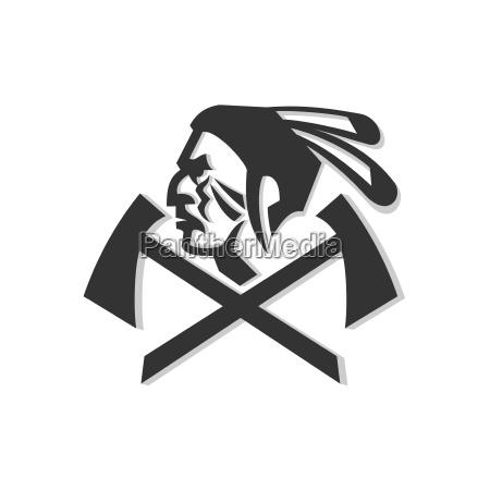 native american warrior crossed hatchet mascot