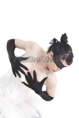 ballet dancer with hand gloves on