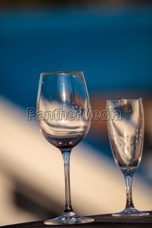 empty wine glass and champagne flute