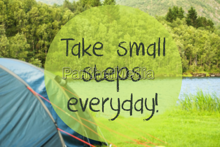 lake camping quote take small steps