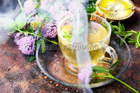 hot herbal tea with clover