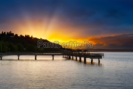 sunset at ruston way waterfront in