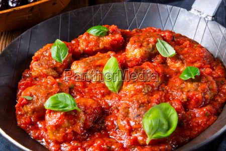rustic mini meatballs baked in tomato